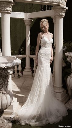 naama anat fall 2016 bridal dresses beautiful fit flare wedding dress trumpet spagetti strap sweetheart neckline corset lace bodice style glamorous