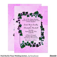 Pink Marble Vines Wedding Invitation