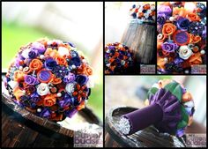 #Absolutely in #love with #orange and #purple #together! I have shared this before but I wanted to pop in a #picture of the #collar and #handle too! Let me know what you think :)  #alternativebouquet #stunning #brooches #sparkles #alternative #wedding #bride #instaweddings #handmade #love #weddingparty #celebration  #bridesmaids #ceremony #romance #marriage #weddingday #broochbouquets #fashion #flowers #australia  www.nicsbuttonbuds.com.au www.facebook.com/nicsbuttonbuds…