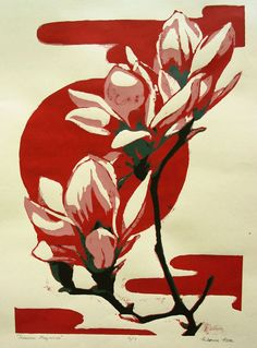 Magnolias screen print