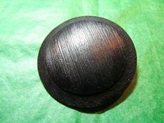 "(1) 1&3/4"" TEXTURED BLACK PLASTIC METAL SHANK COAT BUTTON - VINTAGE Lot#GB58"