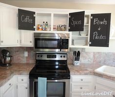 LiveLoveDIY: Kitchen Cabinet Chalk Paint Makeover, check out the inside of cupboard doors.
