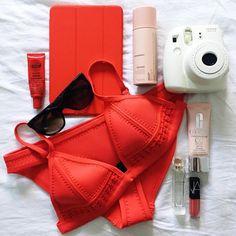 Favorite Color! The GIGI Bikini Bright Red Crochet + Neoprene Photo from @caitrinree