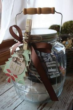 """Old Pickle Jar...with wire & bail handle...""""gifted"""" into a yummy S'mores package...put all the ingredients needed to make them into the jar, tie a bow onto it, use a creative gift tag, & clip it on with a clothespin."""