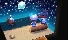 Animal Crossing QR Codes ❤ Beach, water, moon design set Reference pic. ;)