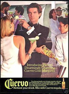 Pierce Brosnan Photo Cuervo Tequila Vintage (1987)