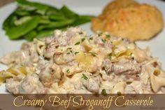 Creamy Beef Stroganoff Casserole - The Cookin Chicks Beef Stroganoff Casserole Recipe, Beef Casserole, Casserole Recipes, Pasta Recipes, Dinner Recipes, Cooking Recipes, Dinner Ideas, Casserole Ideas, Cooking Bacon