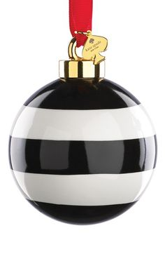 Kate Spade New York Stripe Globe ornament, Black, White and strung with a gleaming Logo Charm, this striped Porcelain Ornament is an elegant addition to the tree. Black Christmas, Noel Christmas, Beautiful Christmas, Christmas And New Year, All Things Christmas, Christmas Bulbs, Christmas Decorations, Preppy Christmas, Xmas
