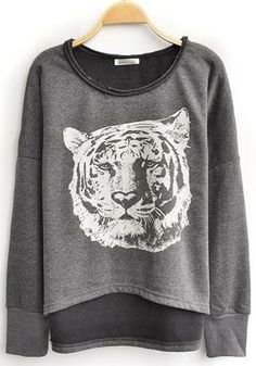 Grey batwing-style sweatshirt. You know what? I like tigers. I don't care.