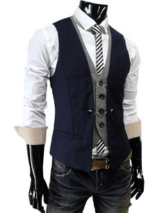 Tattee Boy Clothes | Men's 4 button premium business layered styled vest