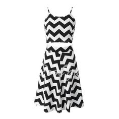 Stylish Spaghetti Strap Tank Top + High-Waisted Wave Print Skirt Women's Twinset