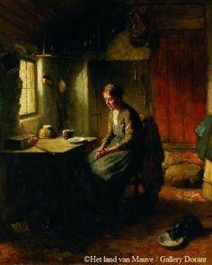 Anton Mauve, Larens interieur met vrouw aan tafel en etend poesje on ArtStack #anton-mauve #art