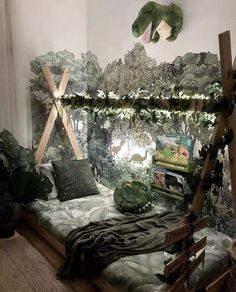 University Bedroom Ideas: How to Decorate your Dorm Room with Fairy Lights – Dorm Room İdeas 2020 Animal Bedroom, Jungle Bedroom, Dinosaur Bedroom, Dinosaur Room Decor, Diy Toddler Bed, Boy Toddler Bedroom, Toddler Rooms, Boys Space Bedroom, Boy Rooms