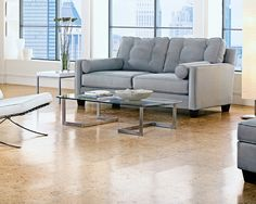 See cork flooring pictures and get interior design ideas for every room in your home. Modern Flooring, Types Of Flooring, Flooring Options, Flooring Ideas, Living Room Flooring, Kitchen Flooring, Living Rooms, Living Area, Prefinished Hardwood
