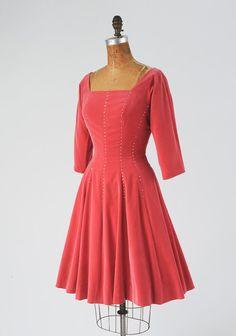 Lovely rose pink velveteen 1950's cocktail dress