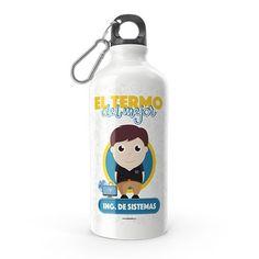 Termo - El termo del mejor ingeniero de sistemas, encuentra este producto en nuestra tienda online y personalízalo con un nombre. Water Bottle, Drinks, Engineer, Carton Box, Pintura, Art, To Sell, Store, Crates