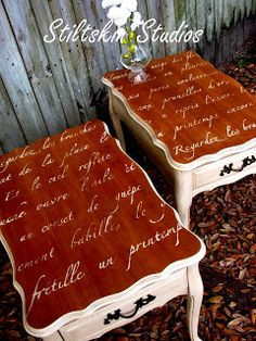 end table remake with a French poem stenciled on the top