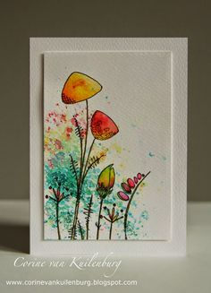 Jofy stamps, Brusho! Tombow markers (055, 845 and 098). | Corine's Gallery