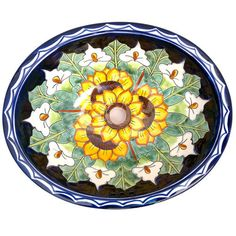 Beautiful sunflower combination on a traditional ceramic Mexican sink. Cost $139.75 with free shipping!