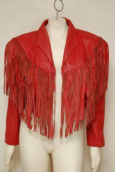 Vintage Red Leather Fringe Jacket Coat by clothrevival on Etsy, $100.00