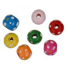 100-HOLZ-PERLE Holzperlen 10mm Kugel rund Mix Multicolor