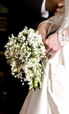 Kate Middleton's Royal Wedding Bouquet.  Lilly of the Valley make for a great bouquet and as a filler.