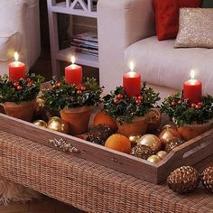 Be creative with your Christmas candles. Make use of old pots and add leaves and berries in them to encircle the Christmas candles. Very easy to do and looks absolutely stunning.