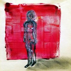 untitled red grid with figure  - ink and acrylic on linen
