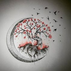 Tree Tattoo - Moon Tree of Life - Drawings - . - Tree Tattoo – Moon Tree of Life – Drawings – … – – - Cute Tattoos, Beautiful Tattoos, Body Art Tattoos, Small Tattoos, Sleeve Tattoos, Tatoos, Moon Tattoos, Flower Tattoos, Tree Tattoo Designs