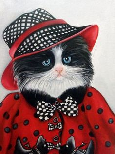 It's Bitsy's Birthday, Cats in Clothes Paintings by k Madison Moore, painting by artist k. Madison Moore