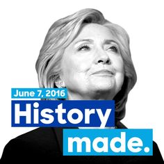 @theguardian:  #HillaryClinton declared victory in the Democratic presidential primary on Tuesday, marking the first time a woman will capture the nomination of a major political party in the United States' 240-year history! - http://www.theguardian.com/us-news/2016/jun/07/hillary-clinton-democratic-nominee-acceptance-speech