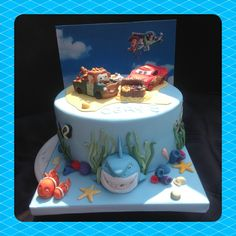 The customer requested a cake with Disney cars,you story and Nemo. The dessert island bought it all together nicely x