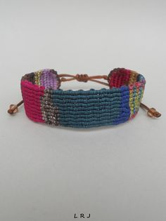 Colorful patchwork style macrame cuff by LuckyRatJewellery on Etsy