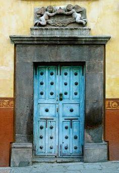 old turquoise doors https://www.SFBayHomes.com #doors #windows