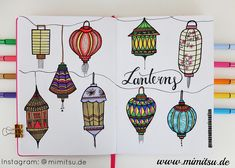 """Easy simple """"lanterns"""" doodle, BuJo, bullet Journal, sketchnotes, how to draw, Laternen"""