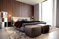 Spacious Bedroom Interior by Studio Tolicci subtle bedside tables