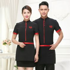 New Design High Quality Chinese Waiter Uniforms Hotel Waiter Clothes Summer Waiter Tops Restaurant Waiter Uniforms