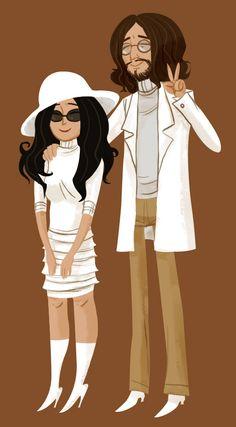 John Lennon & Yoko Ono illustrated
