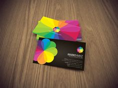 Color blossom business card by Lemongraphic on DeviantArt Business Card Maker, Unique Business Cards, Business Card Holders, Business Card Logo, Business Card Design, Corporate Business, Graphic Design Studios, Logo Design, Visiting Card Design