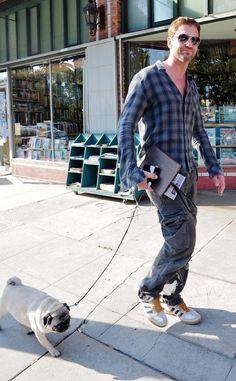 Gerard Butler, The Olympus Has Fallen actor enjoys the weekend as he walks his pug, Lolita, in Los Angeles.