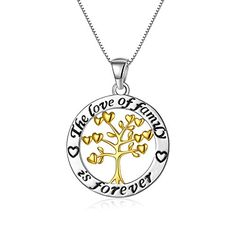 Adan Banfi Women Sterling Silver Chain Necklace Tree of Life Circle Pendant Jewelry. Material: 925 Sterling Silver. Specification: The fine sterling silver extended box chain with spring-ring closure measures up to 18'' long; Pendant Size: 2.45cm in pendant diameter; Weight: 5.7g. Application: This pendant necklace is an ideal gift for your beloved ones on weddings, Christmas, Mother's Day, Valentine's Day, anniversaries as well as birthday. It will also add a beautiful and simple sparkle to…