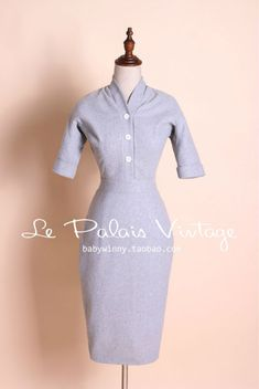 Aliexpress.com : Buy FREE SHIPPING Le Palais Vintage Limited elegant gray retro self cultivation woollen dress/vestidos from Reliable vestidos casuales suppliers on Mr. and miss