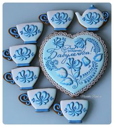 Набор Гжел Mother's Day Cookies, Paint Cookies, Tea Cookies, Cupcake Cookies, Sugar Cookies, Frosted Cookies, Gingerbread Decorations, Tea Party Decorations, Strawberry Decorations