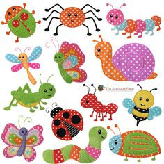 Bugs set of 13-bug, grasshopper, set, ant, bee, spider, snail, ladybug, caterpillar, dragonfly, butterfly, beetle, applique