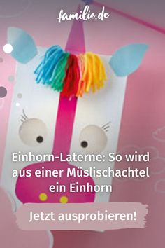 """Dieses Jahr darf Emilia Einhorn mit auf den Laternenumzug. Die Einhorn-Laterne ist nicht nur zuckersüß, robust und schnell gebastelt. Sie hat auch den Upcycling-Faktor und erhält damit das Prädikat """"nachhaltig"""". Hier gibt es die Anleitung. #einhorn #laterne #laternenumzug #lebenmitkindern #sanktmartin Lantern Festival, Rainbow Colours"""