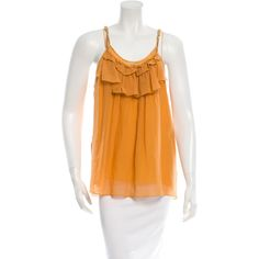 Pre-owned Marc Jacobs Sleeveless Layered Top ($75) ❤ liked on Polyvore featuring tops, yellow, sleeveless tops, ruffle tank, sleeveless tank, orange top and orange tank