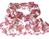 women scarf, chiffon scarves / neckwarmer ,woman scarf, pink floral, hand crocheted lace scarf  / bandana /turban / headband/ for her