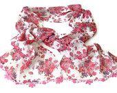 women scarf, chiffon scarves / neckwarmer ,woman scarf, pink floral, hand crocheted lace scarf  / bandana /turban / headband/ for her