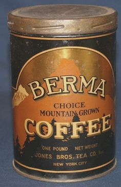 Berma Mountain Grown Coffee 1 Lb. Tin - Jones Bros., NY