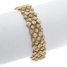 Gordon James Bezel-set Round Brilliant Cut Diamond Bracelet; 4.68 carat total weight. Set in 18k yellow gold. http://www.gordonjamesdiamonds.com/products/2016/6/2/b-2070